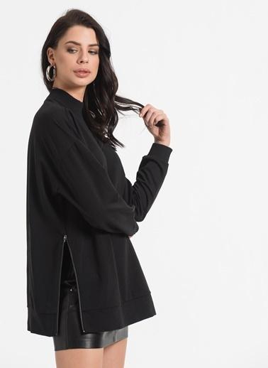 Styletag Yanları Fermuarlı Sweatshirt Siyah